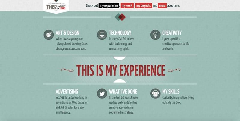 screenshot of designers website