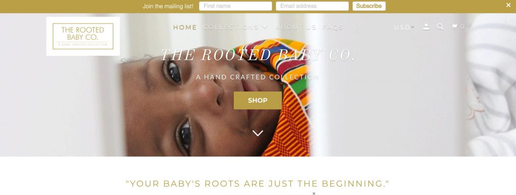 rooted baby co ecommerce shop